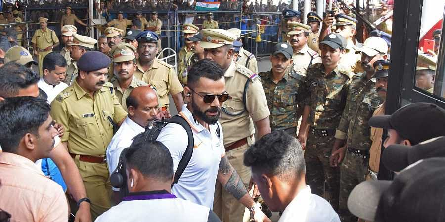 Indian cricket team captain Virat Kohli arrives for the 5th ODI against West Indies to be held on Nov 1 at Greenfield International Stadium in Thiruvananthapuram. (EPS | Deepu Express)