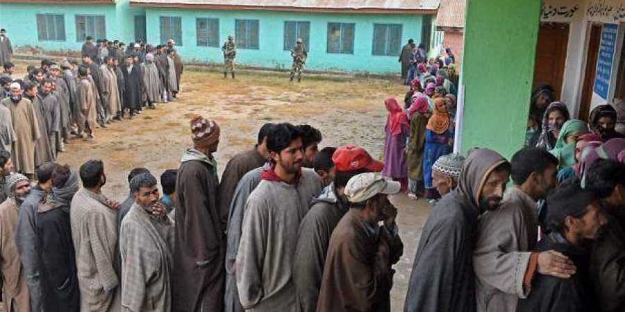 Voters lining up in Kashmir. (Photo | File/PTI)
