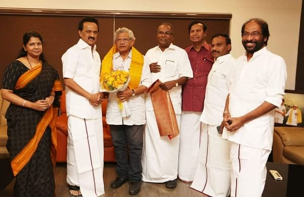 CPI-M's Sitaram Yechury and DMK chief MK Stalin in Chennai on 13 November 2018 after announcing that they would join hands against the BJP in the 2019 Lok Sabha elections. (Photo | D Sampath Kuamr/ EPS)