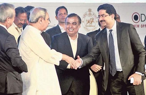 Chief Minister Naveen Patnaik with Chairman of Reliance Industries Mukesh Ambani and Chairman of Aditya Birla Group Kumar Mangalam Birla  at Make-In- Odisha conclave in Bhubaneswar on Monday | Biswanath Swain