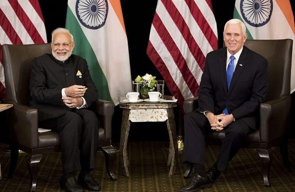 U.S. Vice President Mike Pence, right, meets India Prime Minister Narendra Modi in Singapore, Wednesday, November 14, 2018. | AP