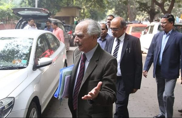 Senior advocate Prashant and Arun shourie at Supreme court after the Rafale deal case hearing in New Delhi on Wednesday.   (Shekhar Yadav   EPS)
