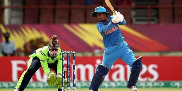 Mithali Raj plays a shot during the ICC T20 World cup match between India and Ireland. (Photo: Twitter / ICC)