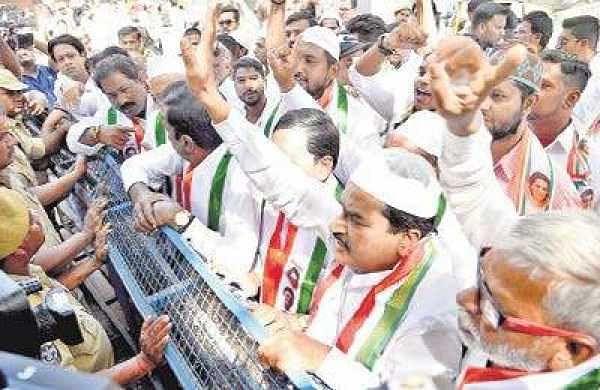Congress members from Bahadurpura constituency protest at Gandhi Bhavan in Hyderabad on Thursday | R Satish Babu
