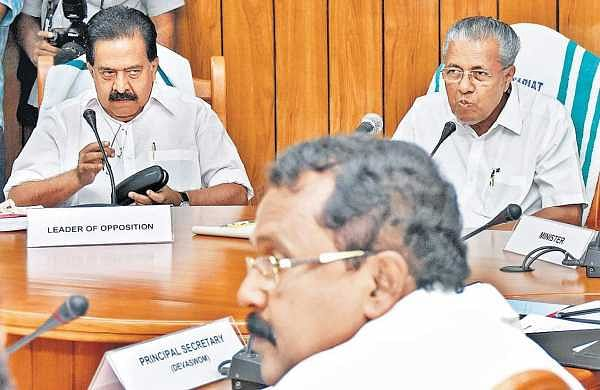 Chief Minister Pinarayi Vijayan, Opposition leader Ramesh Chennithala and BJP state president P S Sreedharan Pillai at the all-party meeting on Sabarimala issue in Thiruvananthapuram on Thursday | B P Deepu