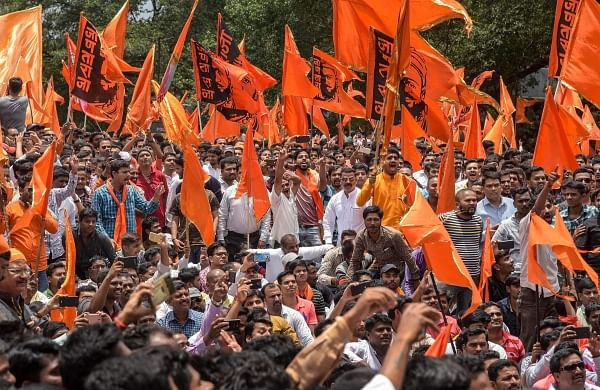 Maratha Kranti Morcha activists during a protest over their demands for reservations in August. (File photo | PTI)