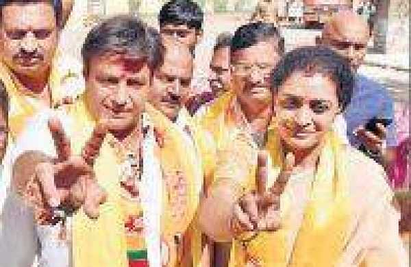 TDP founder NT Rama Rao's grand daughter N Suhasini shows victory sign after filing her nomination papers from Kukatpally segment,