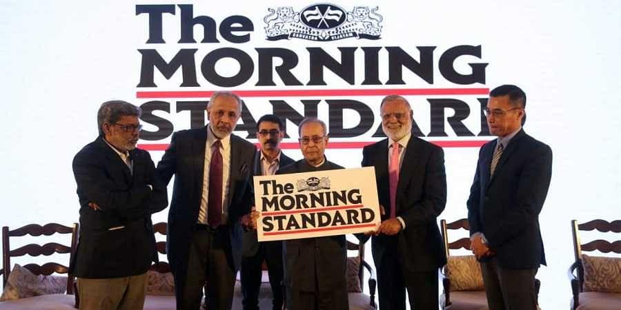 Former President Pranab Mukherjee launches The Morning Standard in New Delhi on Sunday. (From L) TNIE Editor G S Vasu, Chairman Manoj Kumar Sonthalia, Editorial Director Prabhu Chawla and Delhi Resident Editor Khogen Singh | Sekhar Yadav
