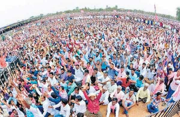 Supporters during the public meeting of TRS president K Chandrasekhar Rao in Siddipet on Tuesday | Express