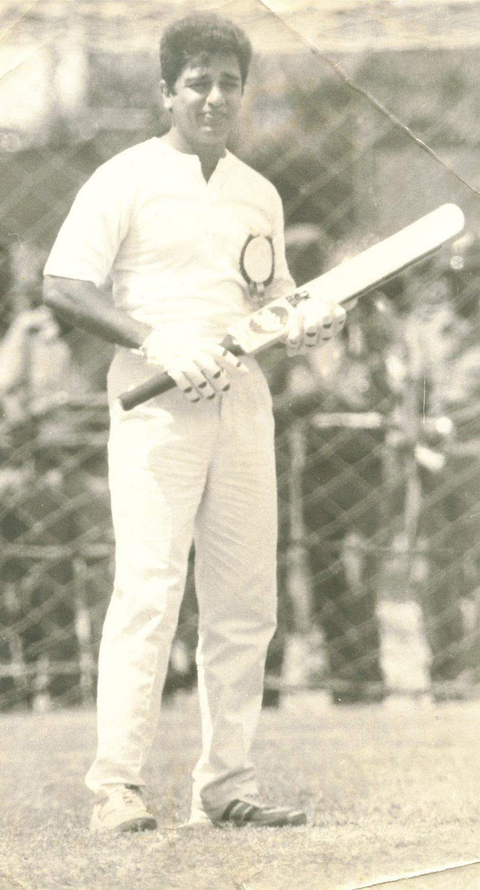 Actor Kamal Hassan during a star cricket match.