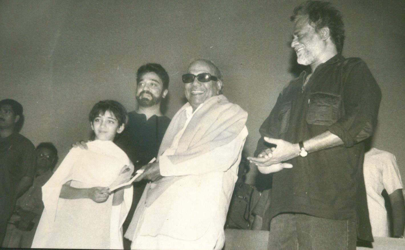 Chief Minister of Tamil Nadu M Karunanidhi and Kamal Hasan on the release of his film 'Heyram'.