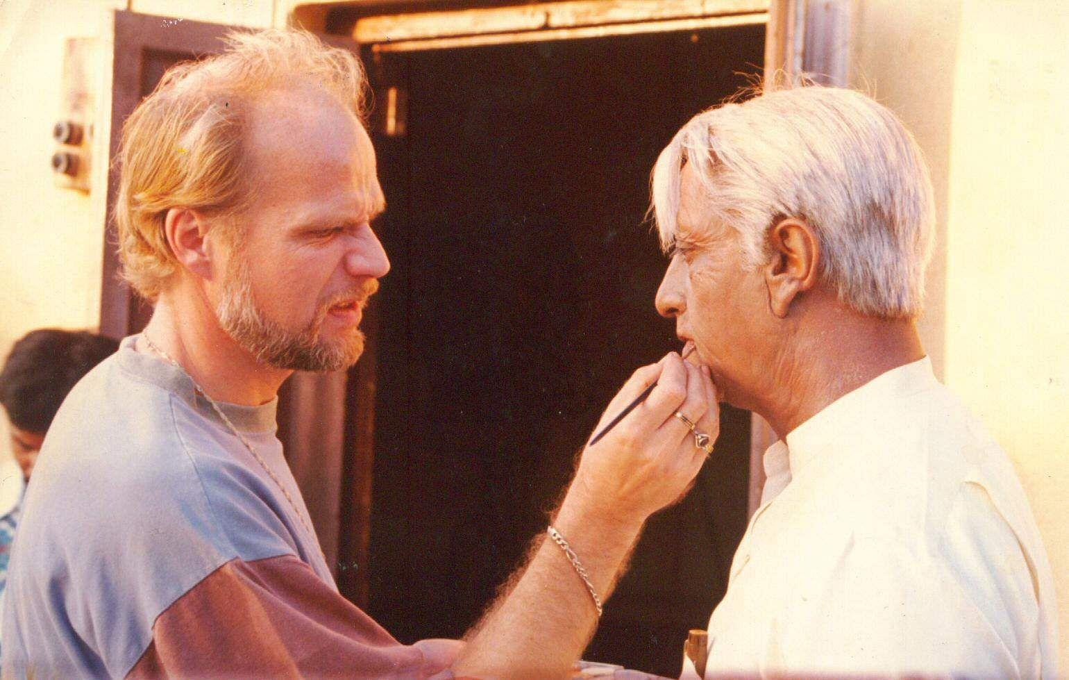 Actor Kamal Hassan with his make-up man during the shooting of the film Indian, which was written and directed by Director Shankar. Indian 2, a sequel to the 1996 classic is slated to hit screens either in 2019 or in 2020