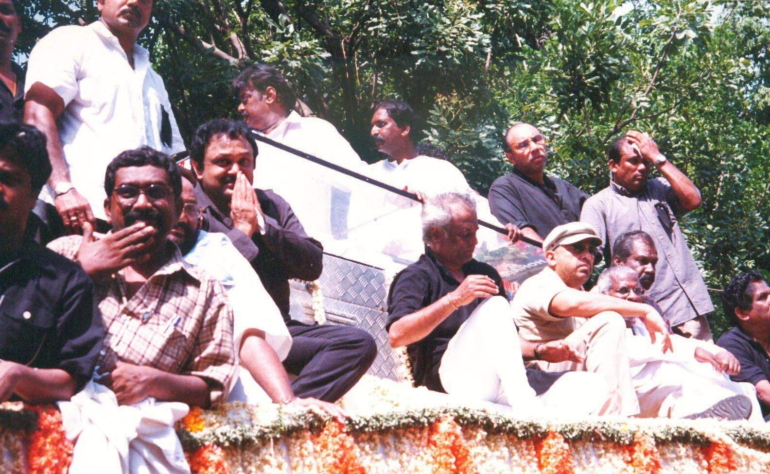 Kamal Hassan with actors during the funeral of the legendary actor Sivaji Ganesan.