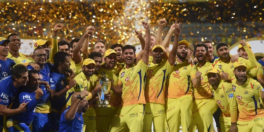 Chennai Super Kings players celebrate with the IPL 2018 trophy after winning the final match against Sunrisers Hyderabad in Mumbai on Sunday. CSK defeated SRH by eight wickets to lift the trophy. | PTI