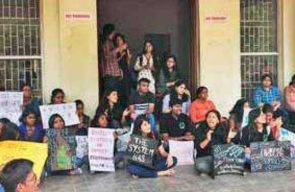 Students of TISS Hyderabad hold placards in protest of the closure of hostels and scrapping of the BA Social Science programme. Classes had resumed on December 3, but the administration has not commented on the issue yet | EPS