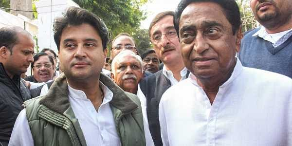 Congress State President Kamal Nath party leader Jyotiraditya Scindia and other leaders leave after a meeting with Governor Anandiben Patel to stake claim to form the government at Raj Bhawan in Bhopal. (Photo | PTI)