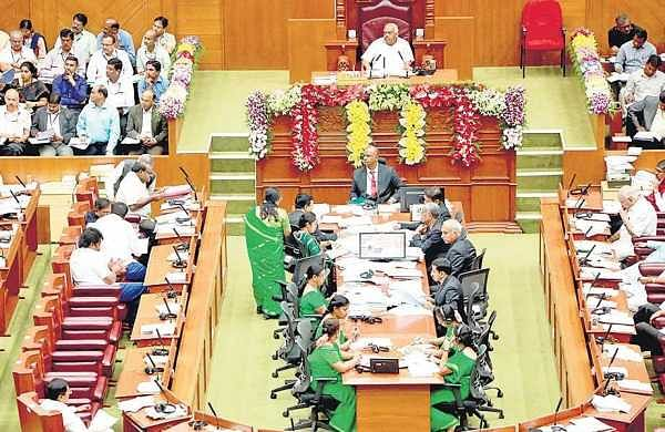 Chief Minister H D Kumaraswamy addresses the assembly in Belagavi on Tuesday