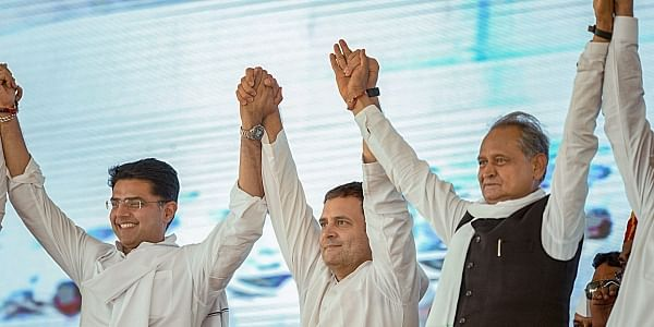 Front-runners for CM post in Rajasthan Sachin Pilot and Ashok Gehlot with party president Rahul Gandhi during a poll rally. (File Photo | PTI)
