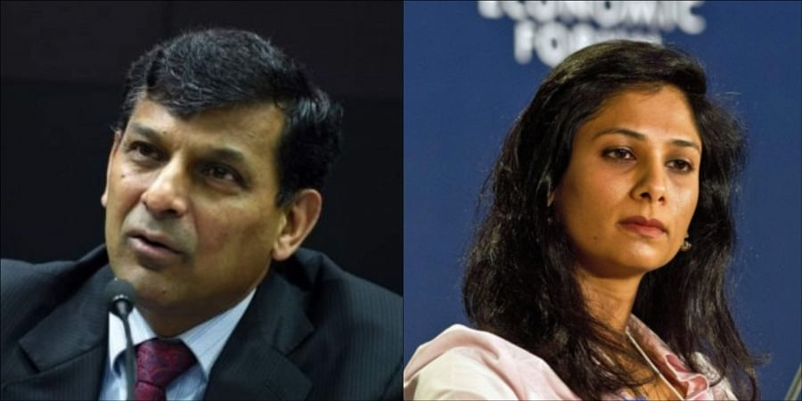 (Left to right) Former RBI governor Raghuram Rajan; International Monetary Fund Chief Economist Gita Gopinath. (Photos | AFP)