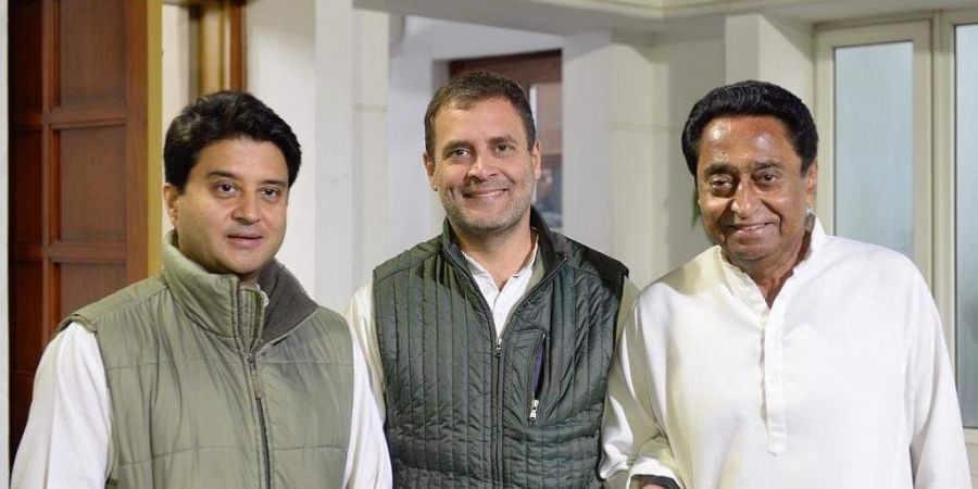 Congress chief Rahul Gandhi (in centre) with Jyotiradia Scindia on his left and Kamal Nath on his right. Kamal Nath is the new Madhya Pradesh CM with Scindia as his deputy. (Photo | Rahul Gandhi/ Twitter)