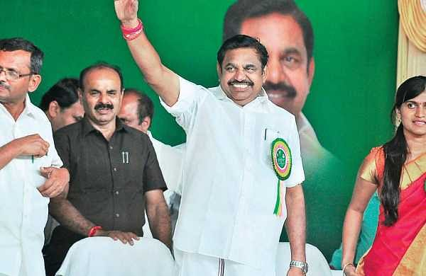 Chief Minister Edappadi K Palaniswami during a public meeting at Veeraganur in Salem district on Friday | Express