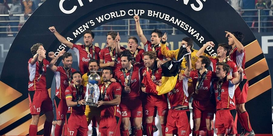 Belgium players celebrate with wining trophy during the Men's Hockey World Cup 2018 in Bhubaneswar. (Photo | PTI)