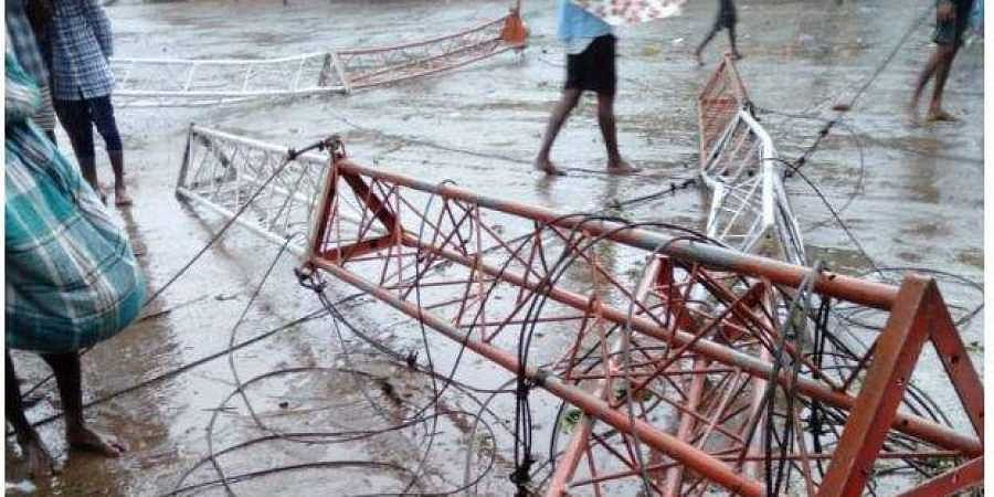 Electric poles uprooted in East Godavari