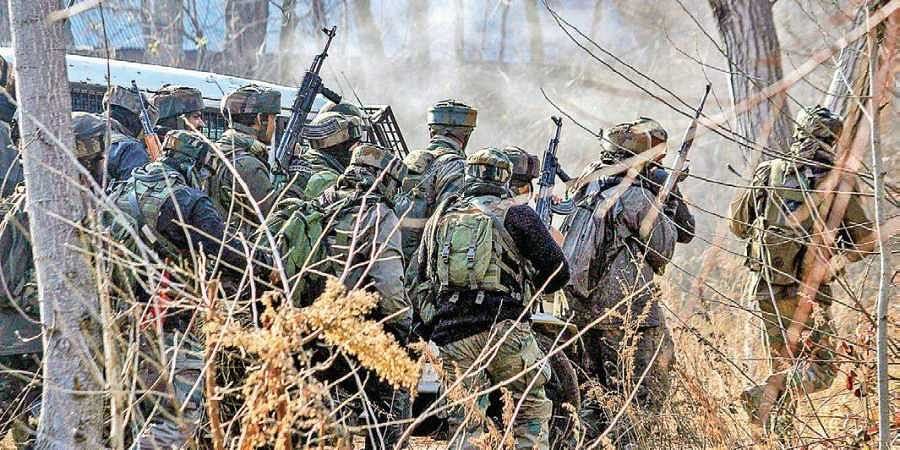 Soldiers during an encounter with militants at Sirnoo in Pulwama district of south Kashmir on 16 December 2018. (Photo | PTI)