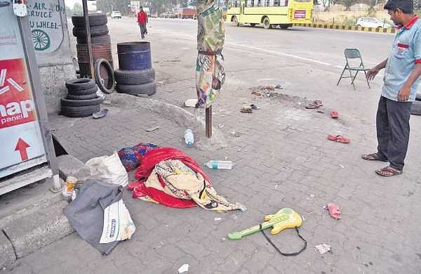 The spot where a truck ran over a 14-year-old boy and a woman on Bengaluru-Tumakuru road on Sunday | Nagaraja Gadekal