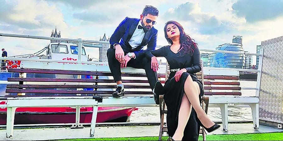Gurunandan and Mrudula in a still from Raju James Bond.