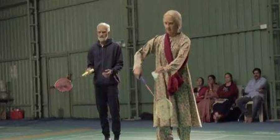 Indian badminton stars Kidambi Srikanth and Ashwini Ponnappa disguised as elderly people. (Photo   Star Sports video screen grab)