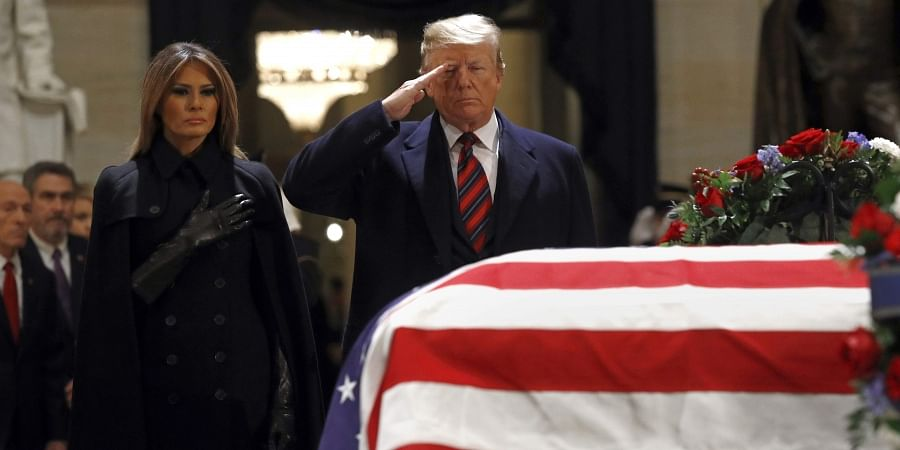 George HW Bush's Service Dog Sully Pictured By Coffin