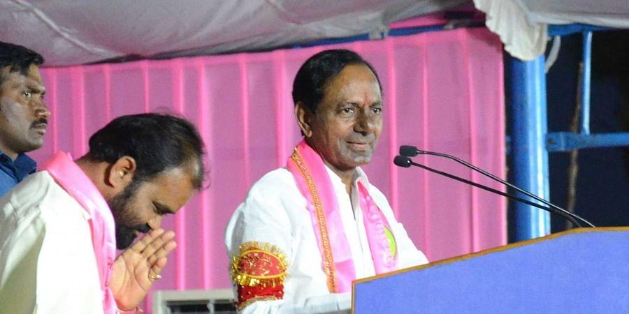 Telangana caretaker CM KCR at a public meeting in Nalgonda on 3 December 2018. Nalgonda TRS candidate Kancharla Bhupal Reddy is also seen.  (Photo   EPS)