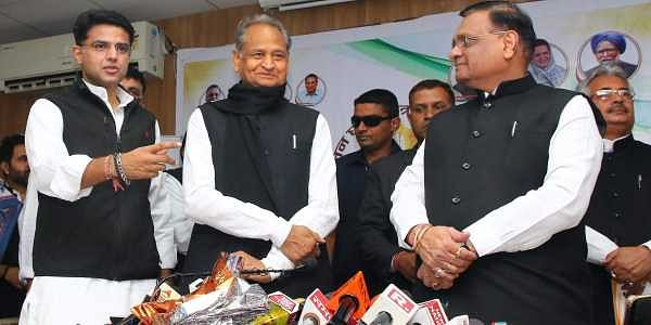 Jaipur Rajasthan Congress chief Sachin Pilot and former Rajasthan chief minister and Congress general secretary Ashok Gehlot during the release of party manifesto for the Rajasthan State Assembly elections 2018 at PCC office in Jaipur Thursday Nov. 29 201