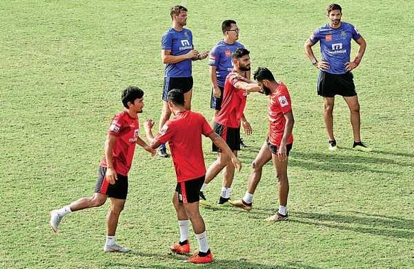 Kerala Blasters during a training session on the eve of their match against Pune