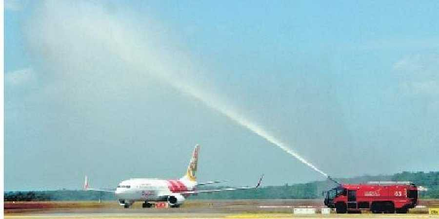 An Air India Express aircraft at the Kannur International Airport. (Photo | EPS)
