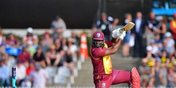 West Indies batsman Ashley Nurse plays a shot during the first Twenty20 international cricket match between New Zealand and the West Indies at Saxton Oval in Nelson. | AFP