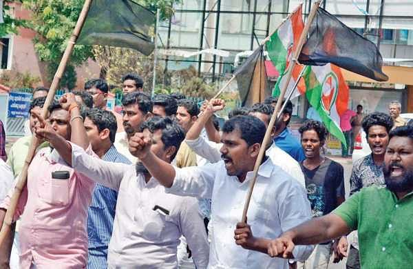 In this file photo from 14 February 2018, Youth Congress workers taking out a march in Thiruvananthapuram on Tuesday in protest against the murder of Youth  Congress worker Shuhaib in Kannur | Manu R Mavelil