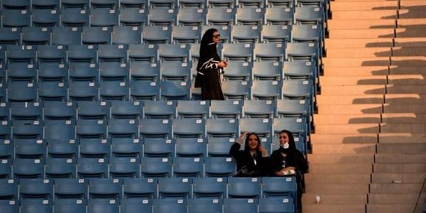 Saudi women arrive at a stadium to attend an event in the capital Riyadh on September 23, 2017 commemorating the anniversary of the founding of the kingdom.|AFP