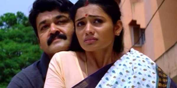 Mohan Lal and Meera Vasudevan in a screengrab from 'Thanmathra'.