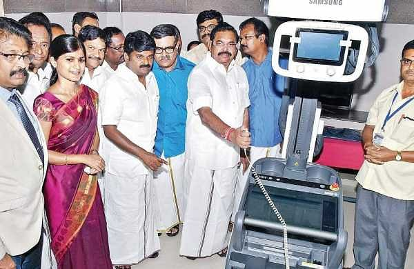 Chief Minister Edappadi K Palaniswami inaugurating the medical equipment at the government hospital at Edappadi in Salem district on Sunday. Industries Minister M C Sampath and Health Minister C Vijaya Basker are also seen   Express