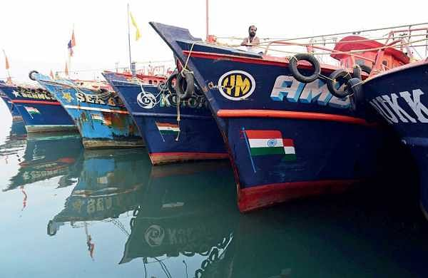 Boats anchored at the backwaters in Kochi. The demand for fish from the backwaters has gone up with the strike of mechanised boat owners entering the fifth day | Albin Mathew