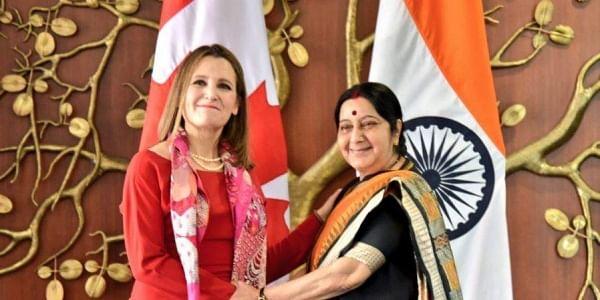 Sushma Swaraj, Canadian Foreign Minister Chrystia Freeland hold strategic dialogue