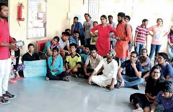 Students stage protest at the Tata Institute of Social Sciences in Hyderabad on Wednesday  | Express