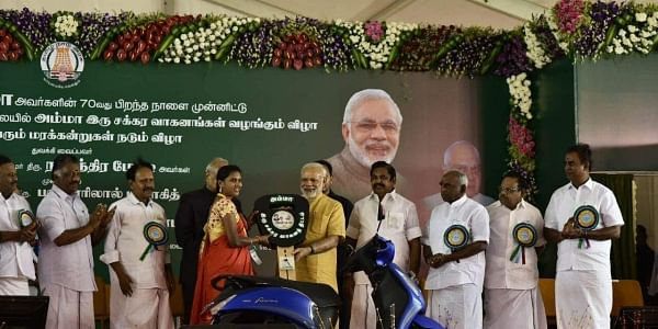 Prime minister Narendra Modi during the launch of two wheelers for the working women at a function held in Chennai on the eve of Jayalalithaa 70th birthday in Chennai on Saturday  (Express | P Jawahar)