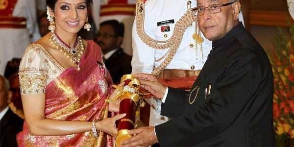 Bollywood superstar Sridevi Kapoor receiving Padma Shri from the then President Pranab Mukherjee at Padma Awards 2013 at the Rashtrapati Bhavan. PTI