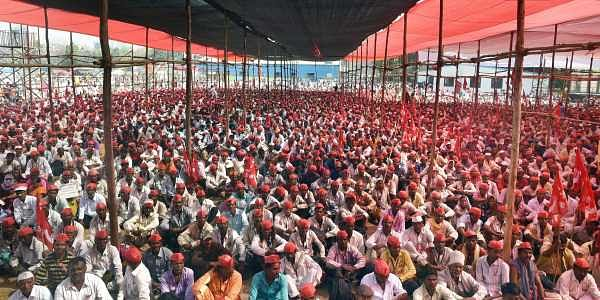 Mumbai Farmers participate in a long march organised by All Indian Kisan Sabha AIKS at Azad Maidan in Mumbai on Monday. (Photo: PTI)