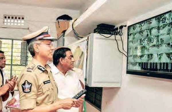 Commissioner of Police Gautam Sawang inaugurating the CCTV system at the New P&T Colony in Vijayawada on Friday | EXPRESS