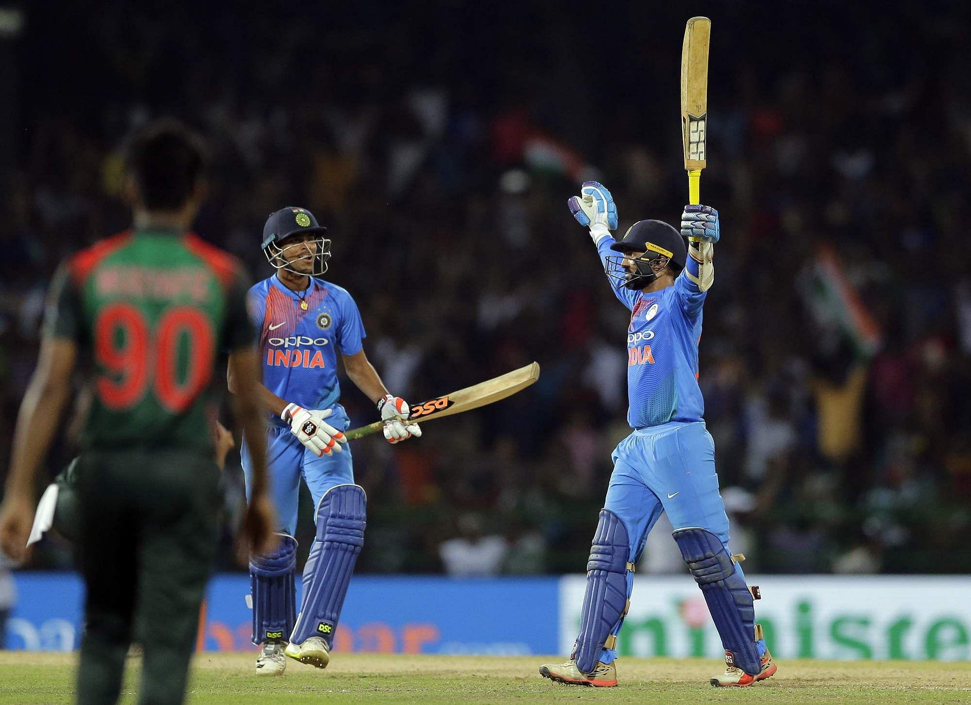 Karthik scored 29 off 8 balls to win India the game. ( Statesman)