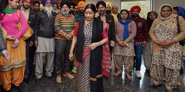 In this file photo dated 7 Feb 2016 External Affairs Minister Sushma Swaraj meets with the family members of Indians stuck in Iraq at Jawahar Lal Bhavan in New Delhi. | PTI